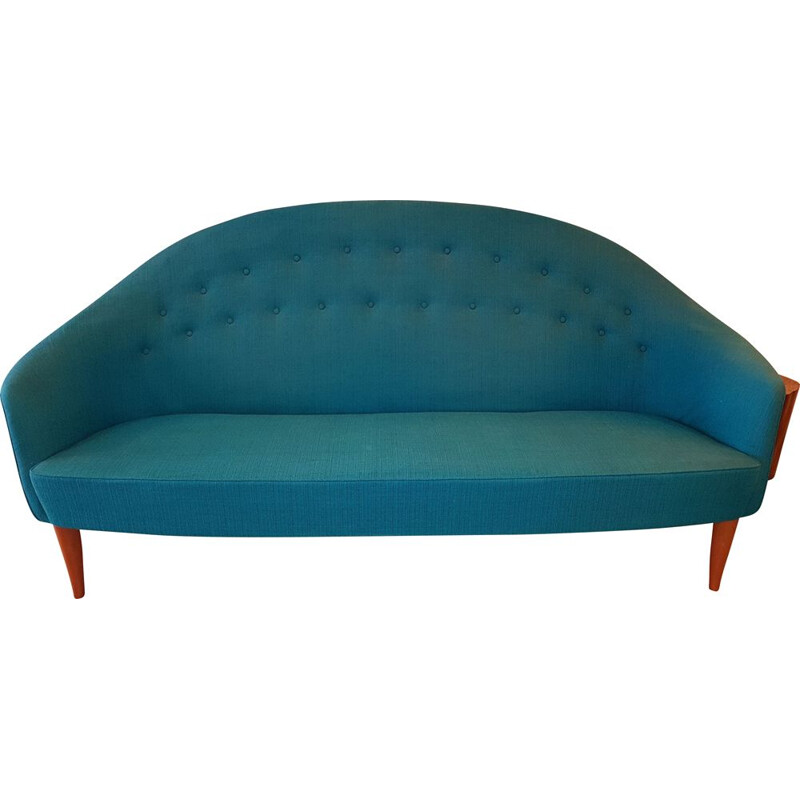 Vintage Paradiset sofa by Triva in turquoise blue fabric 1950s