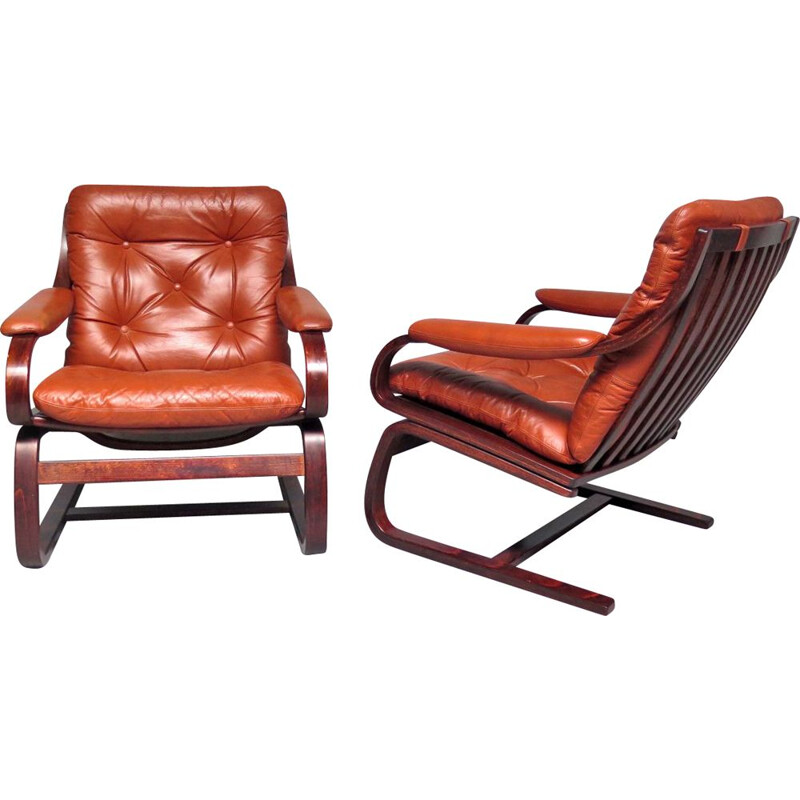 Vintage scandinavian armchairs in brown leather 1970s