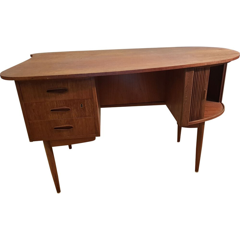 Vintage danish desk in teakwood and bamboo 1950s
