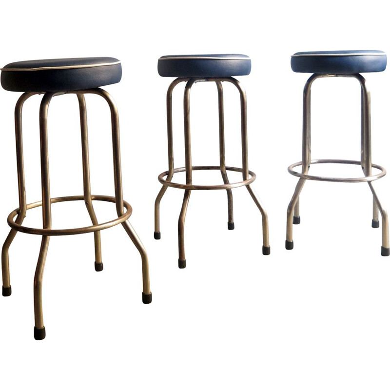 Vintage stools in metal and blue leatherette 1950s