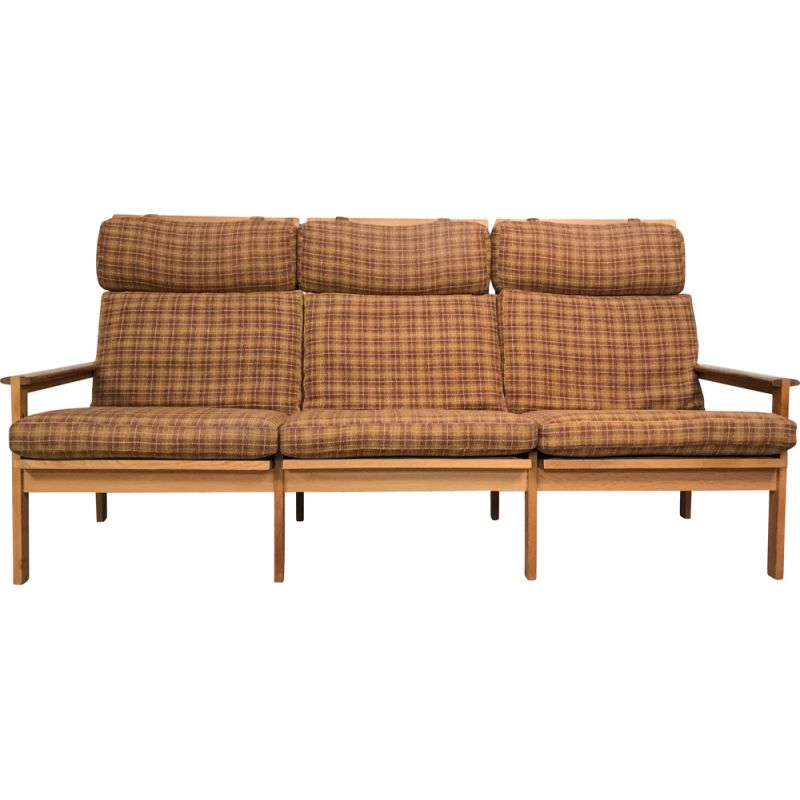 Vintage danish Capella sofa for Niels Eilersen in wool and oakwood 1960s