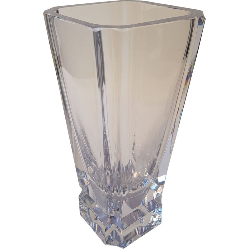 Vintage vase in transparent crystal by Daum