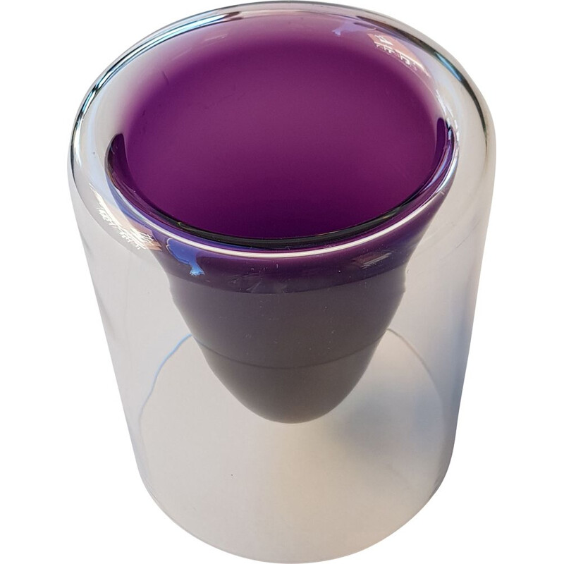 Vintage vase in purple glass by Wirkkala