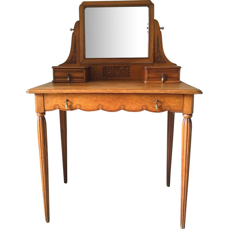 Vintage dressing table in oak and brass