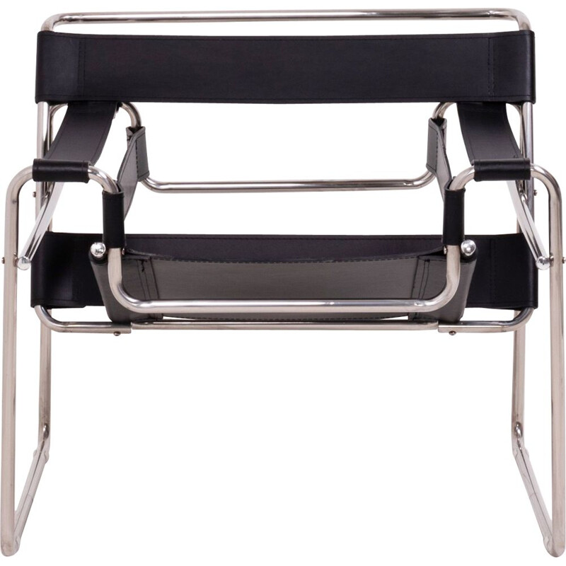 Vintage chromed tubular chair in black leather