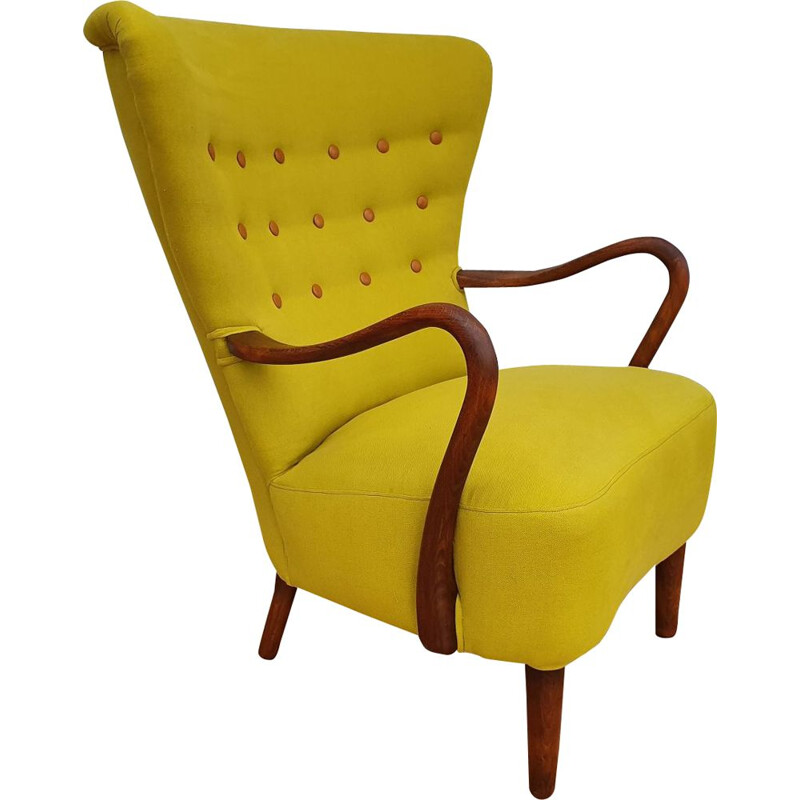 Danish yellow armchair by Alfred Christensen for Slagelse Møbelfabrik