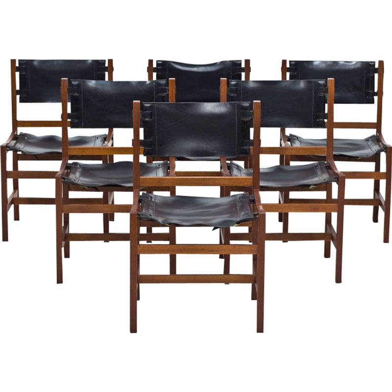 Set of 6 dining chairs in teak and black leather