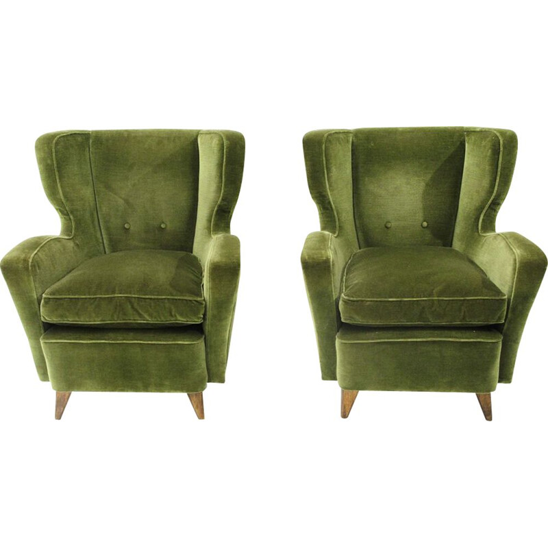 Pair of vintage Italian armchairs in green velvet