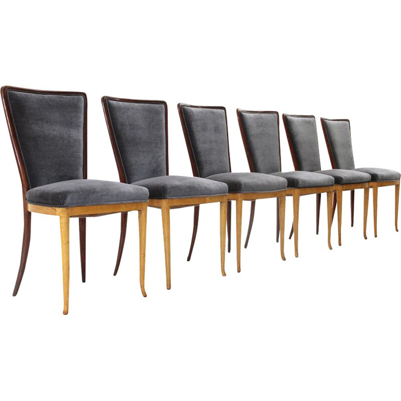 Set of 6 vintage dining chairs in wood and black velvet 1940s