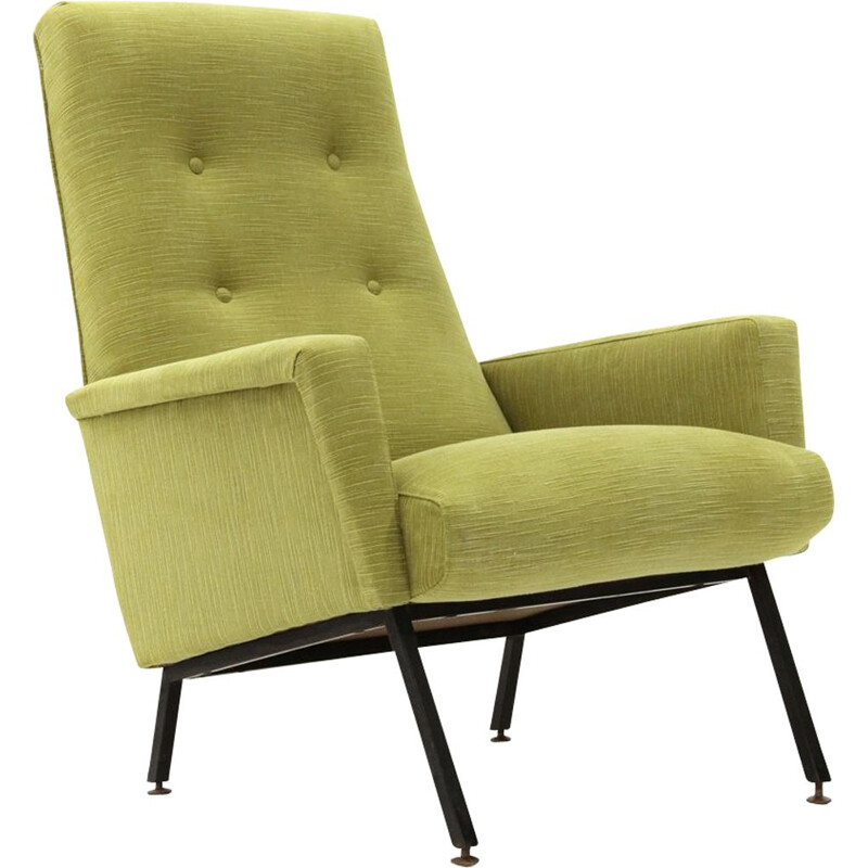 Vintage italian armchair in green fabric and wood 1950s
