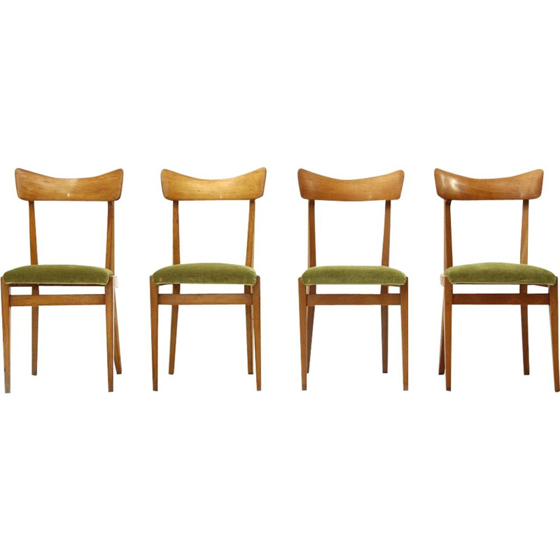Set of 4 vintage italian chairs in green velvet and wood 1950s
