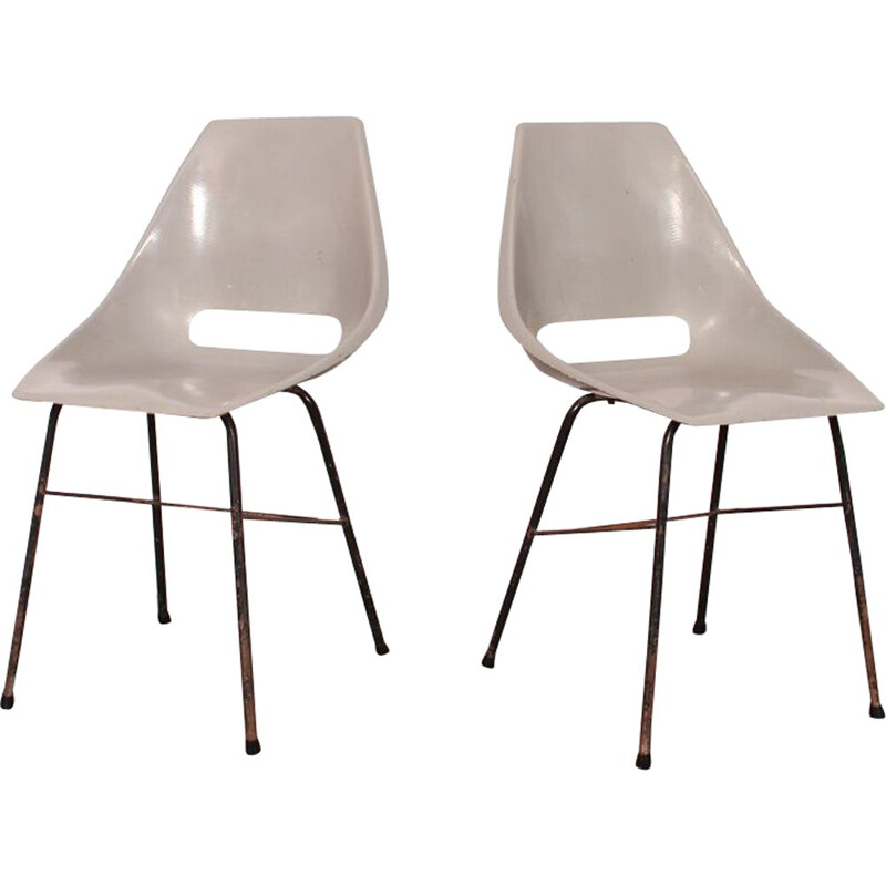 Pair of vintage chairs by Navratil for Vertex in grey fiberglass 1960