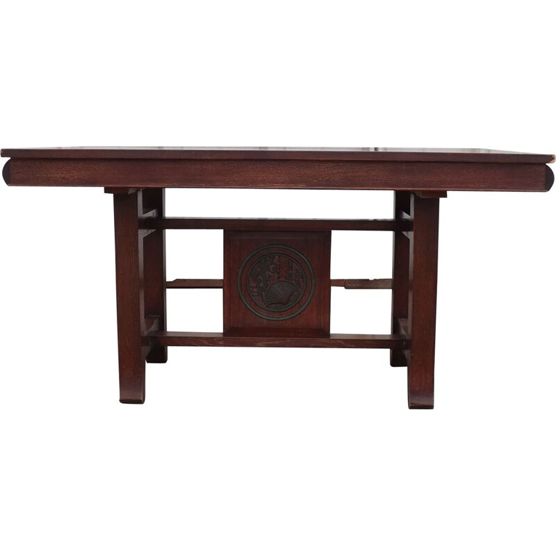 Vintage Japanese Art Deco table in oak and bronze 1940