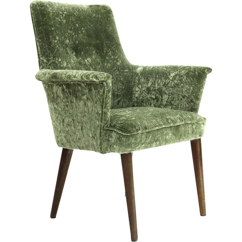 Vintage italian armchair in green velvet and wood 1950s