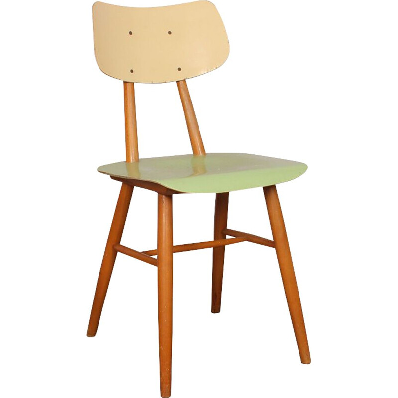 Vintage green chair for Ton in wood 1960