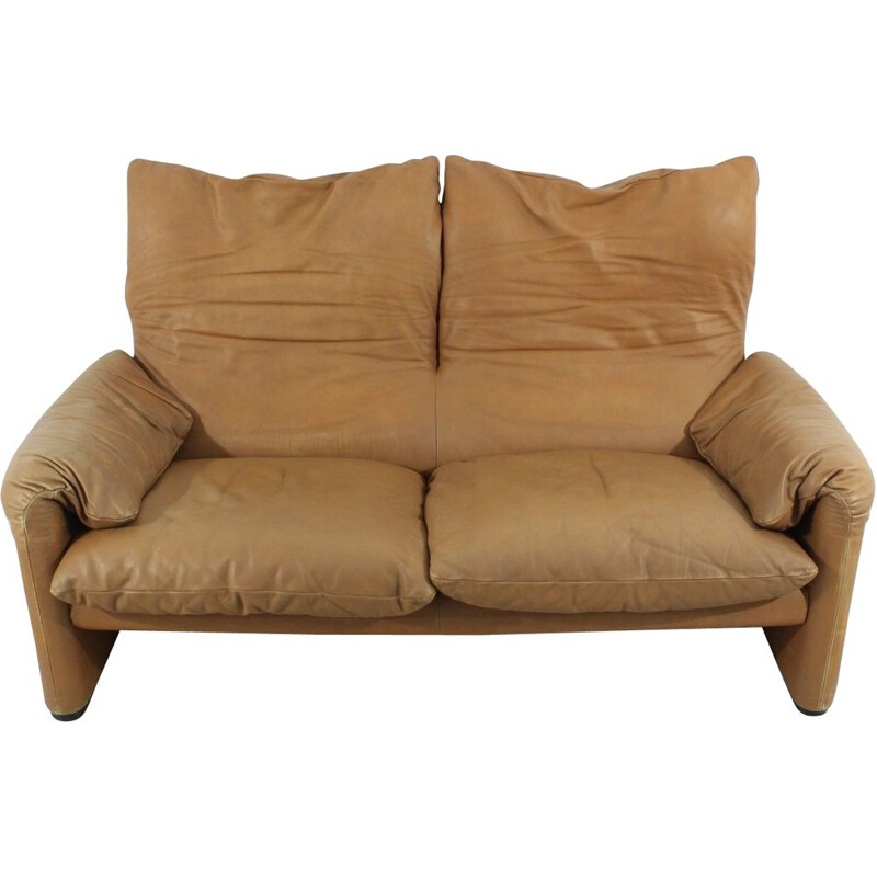 Vintage Maralunga sofa by Vico Magistretti for Cassina in brown leather 1970s