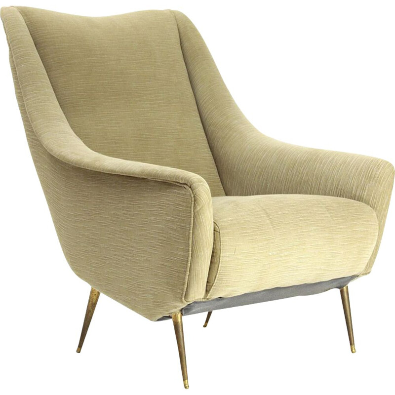 Vintage italian armchair in kaki fabric and brass 1950s