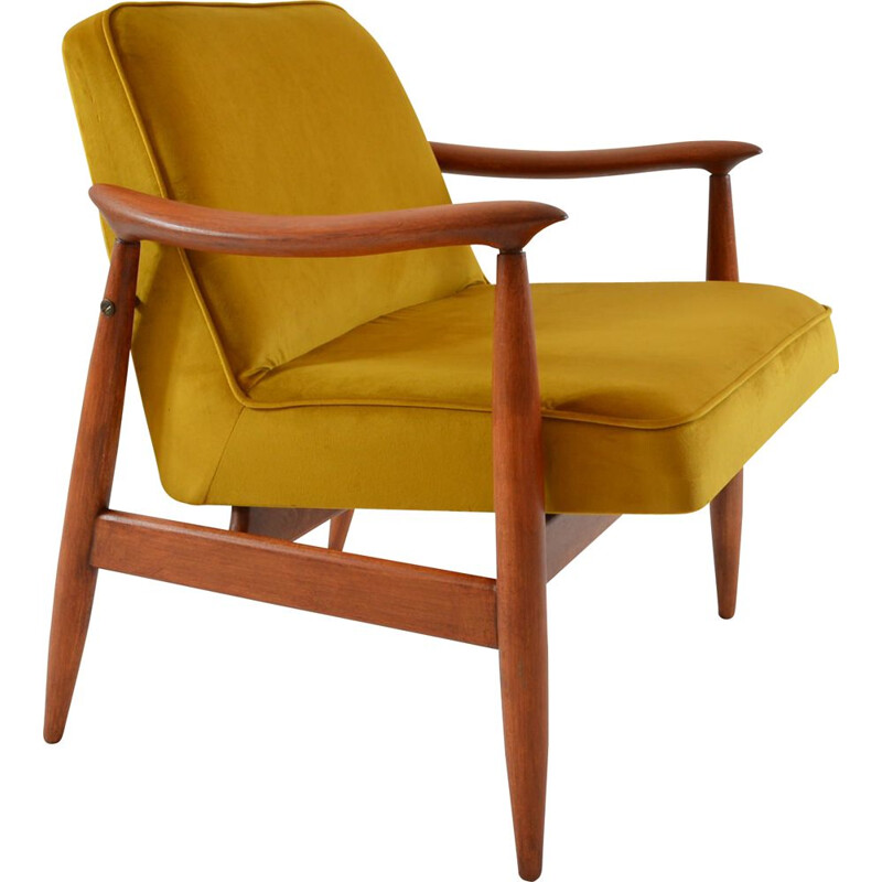 Vintage armchair in yellow velvet and wood 1960