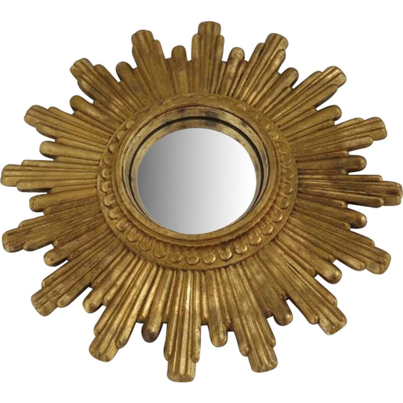 French vintage mirror gilded sun in resin 1960