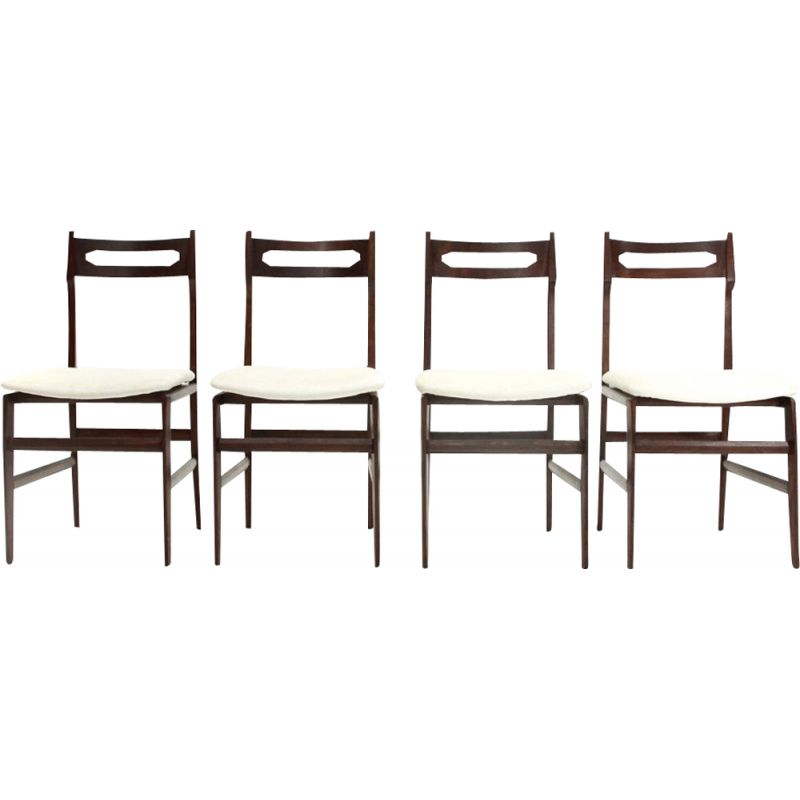 Set of 4 vintage italian chairs in white velvet and wood 1950s