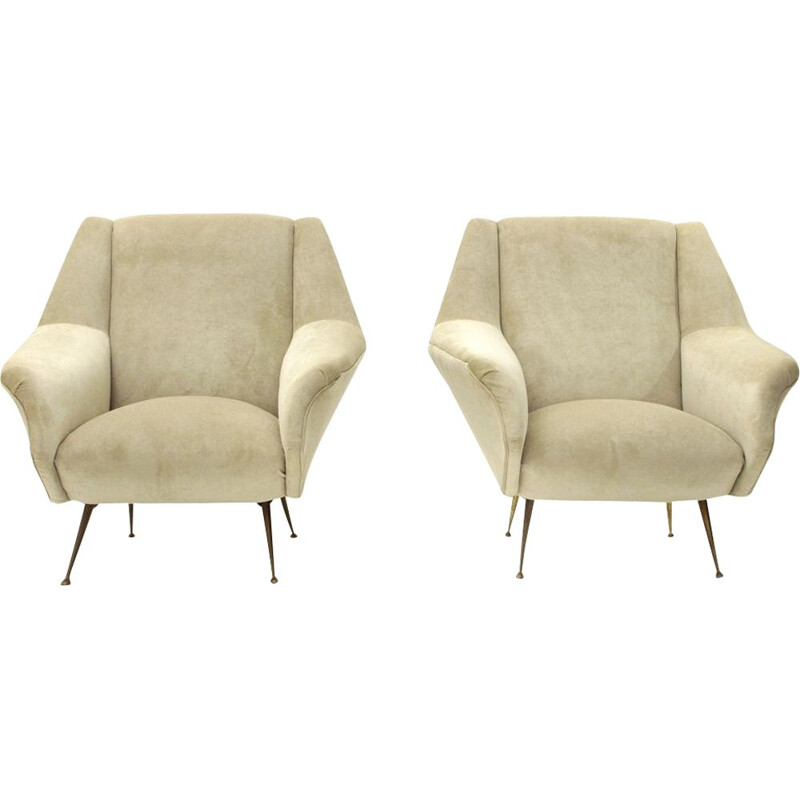 Pair of vintage white cream velvet armchairs 1950s