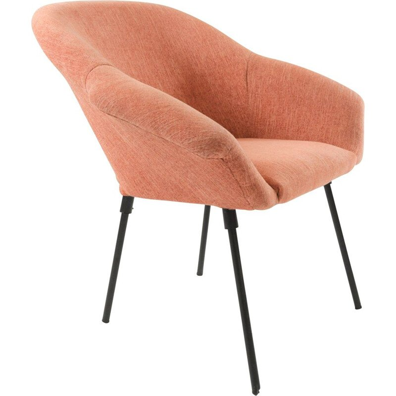 Vintage type shell armchair in pink fabric and metal 1970