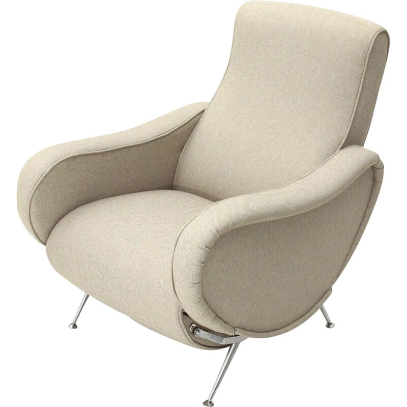 Vintage italian recliner armchair in beige fabric and wood 1970s