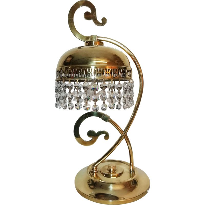 Vintage table lamp brass and cristals