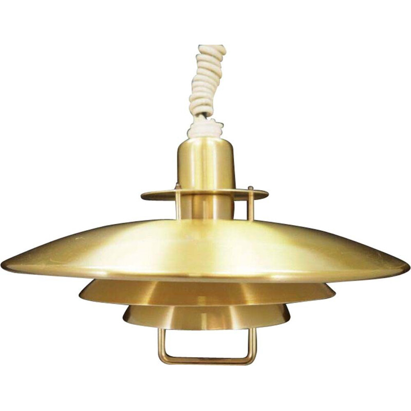 Vintage gold metal pendant lamp 1970
