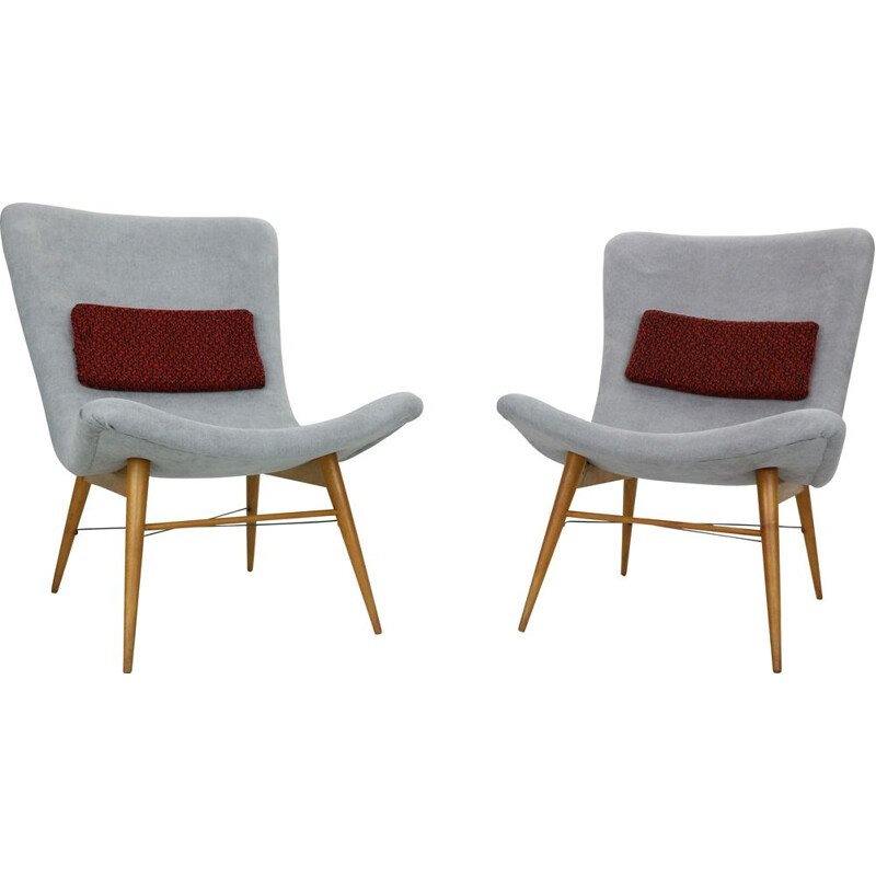 Set of 2 vintage grey armchairs by Miroslav Navratil 1959s