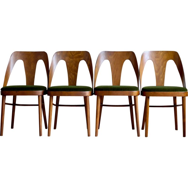Set of 4 vintage dining chairs from FAMEG in Juicy Green Mohair by Kvadrat