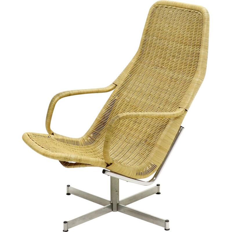 Vintage rattan swivel chair by Dirk van Sliedregt for Gebroeders Jonkers Noordwolde