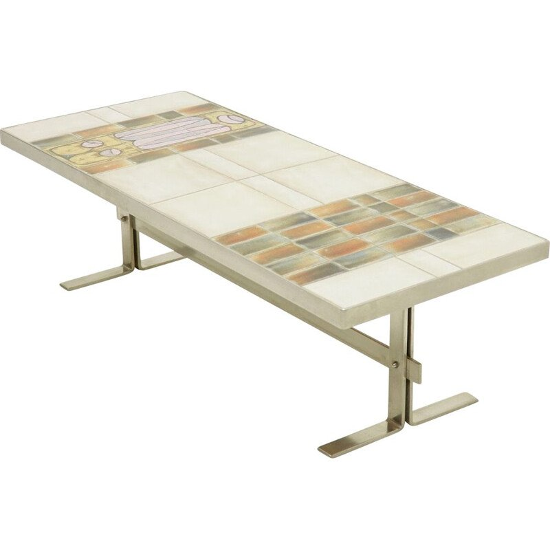 Vintage French Design ceramic and brushed metal coffee table