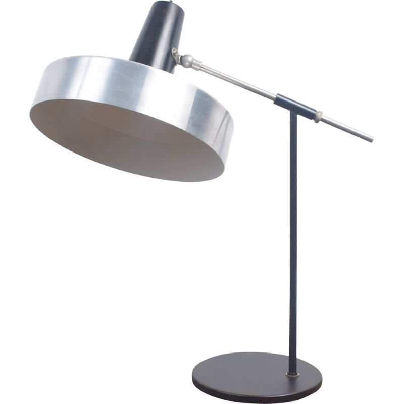 Vintage desk lamp black and chrome by H. Busquet for Hala Zeist 1960s