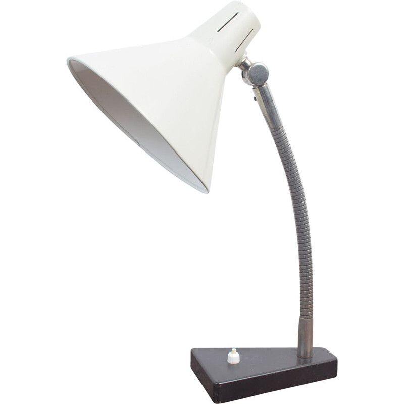 Vintage desk lamp white by H. Busquet  for Hala Zeist 1960s