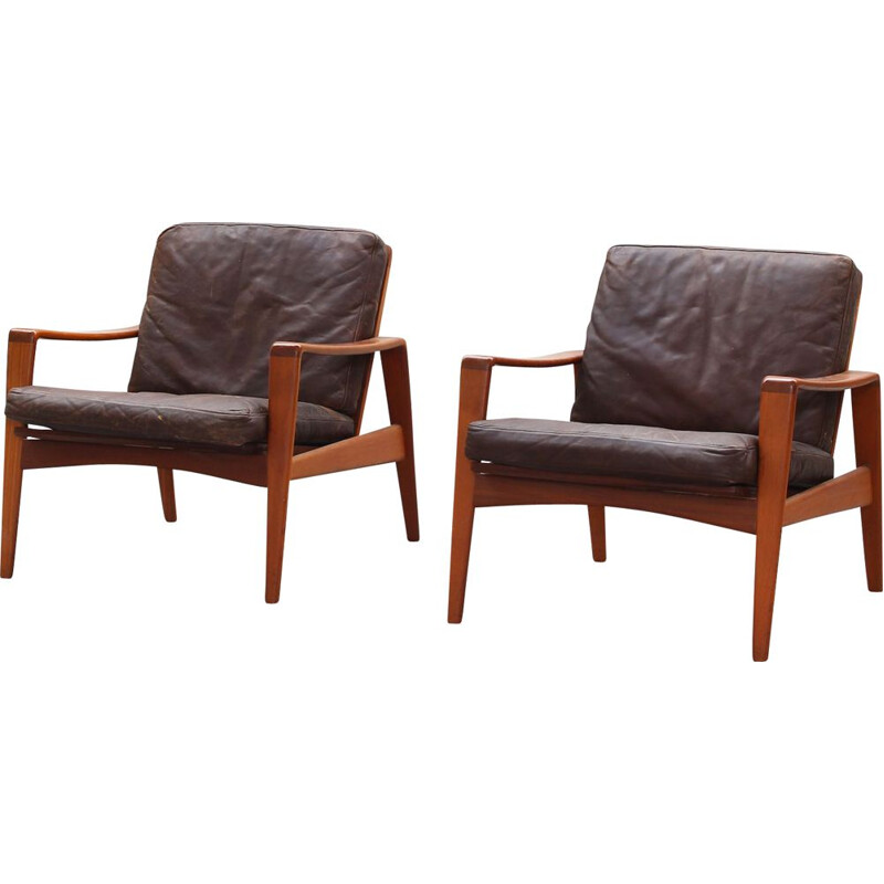Pair of vintage lounge chairs in teak by Arne Wahl Iversen for Komfort , Denmark 1960
