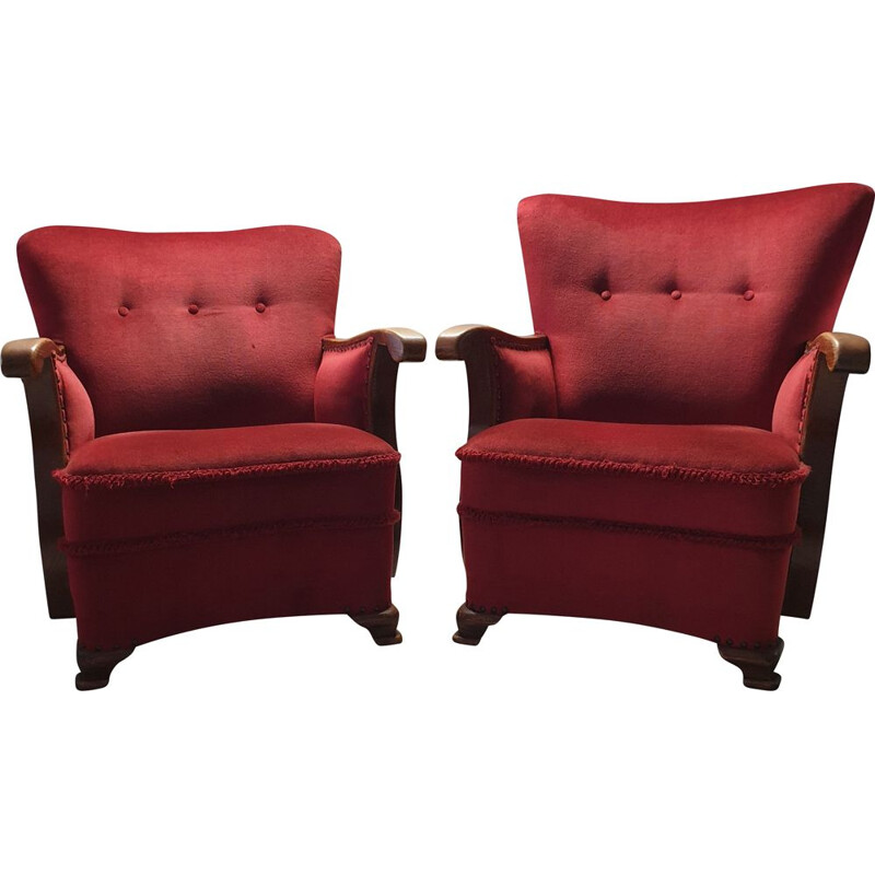 Set of 2 vintage armchairs in oak with wing back Art Deco red velvet 1930s