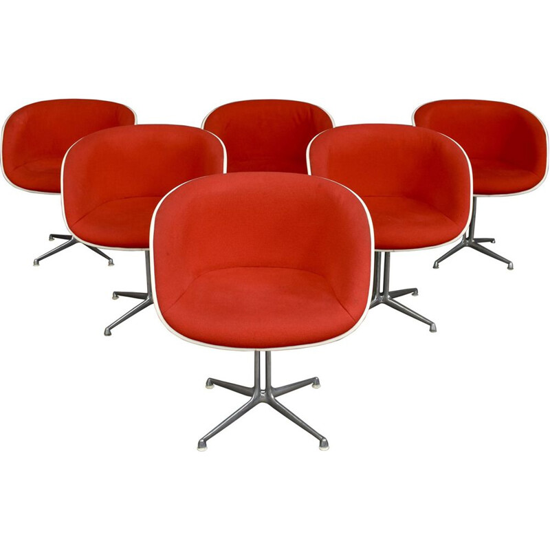 Set of 6 vintage armchairs La Fonda by Eames, USA 1970s