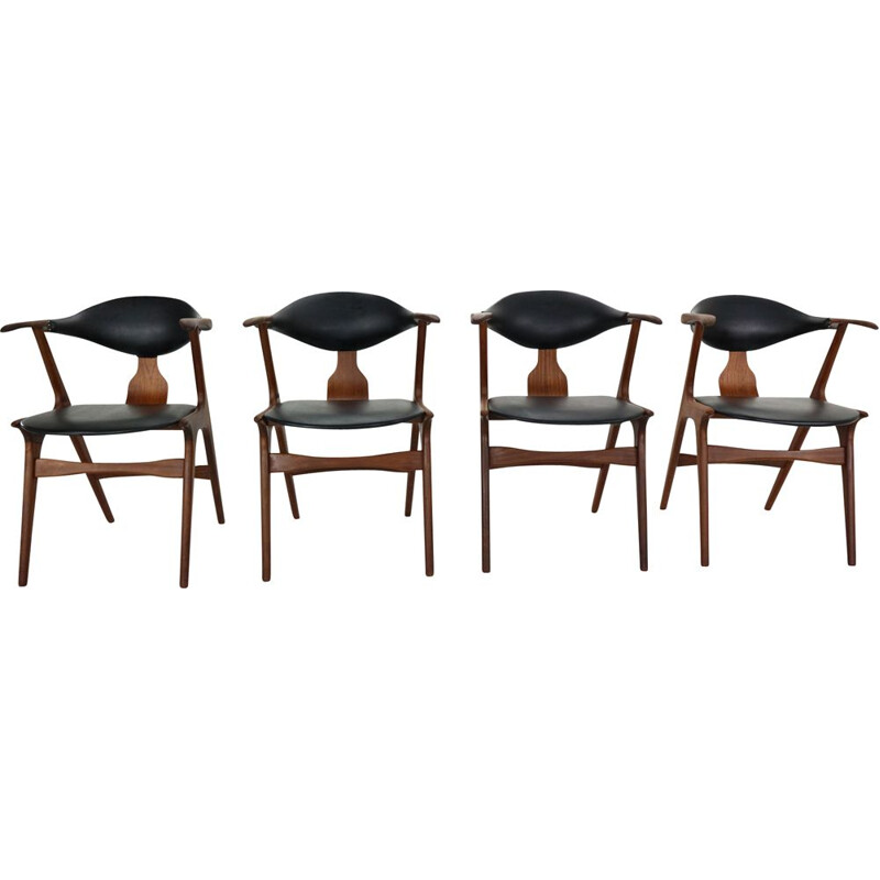Set of 4 vintage chairs cow horn by Louis Van Teeffelen for Awa, 1960s