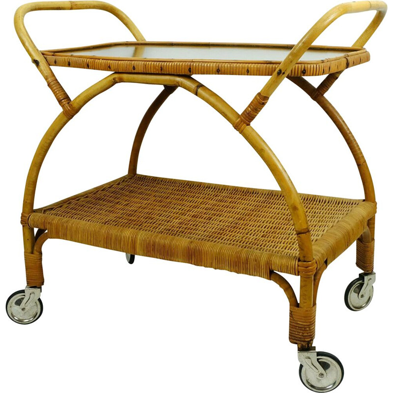 Vintage trolley serving cart bamboo wicker black formica 1950s