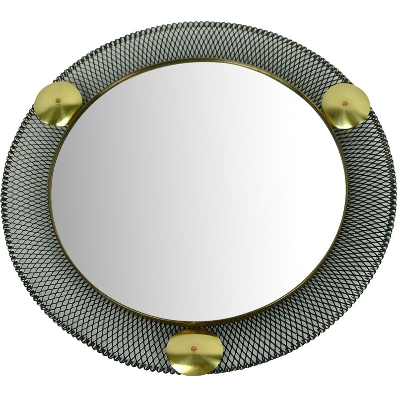 Vintage wall mirror with wire mesh frame and brass France 1950s