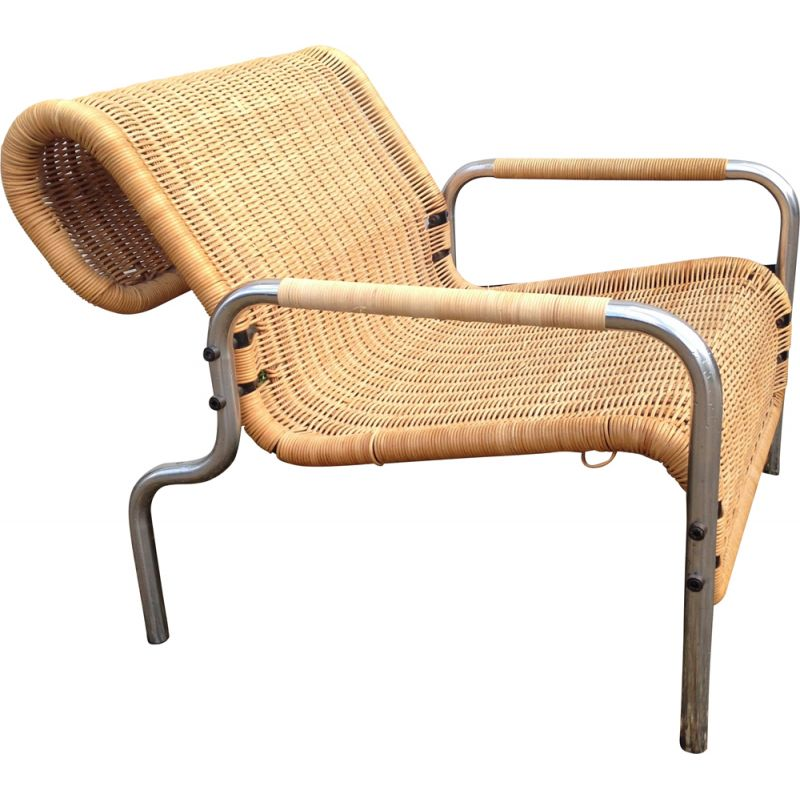 Vintage dutch armchair by Martin Visser in rattan and chrome 1960s