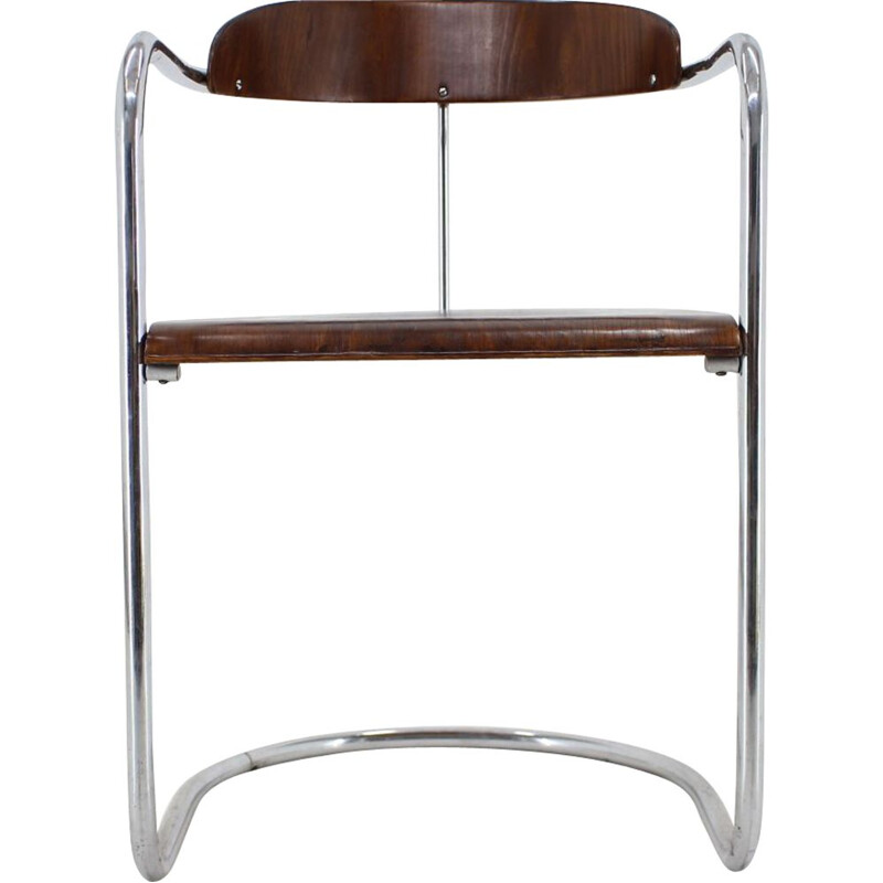 Vintage chair for Hynek Gottwald in tubular chrome and wood 1930s