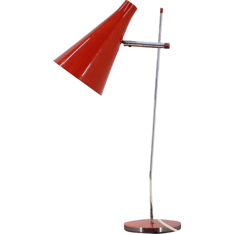 Vintage table lamp for Lidokov in red metal 1960s