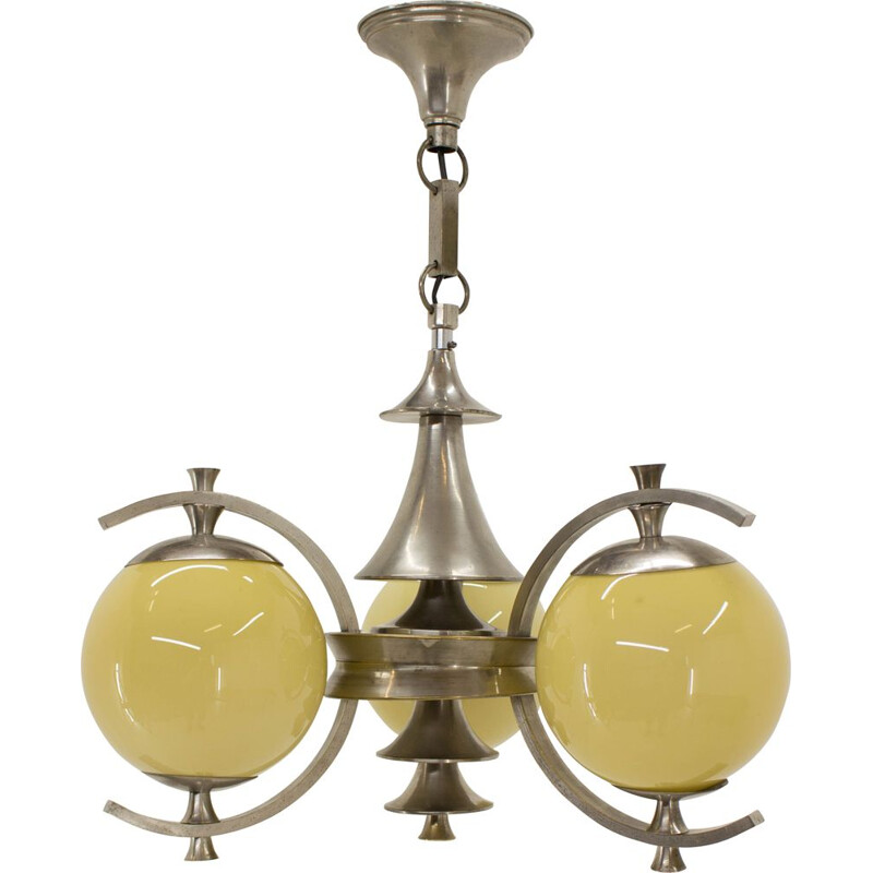 Vintage german chandelier in steel and glass 1930s