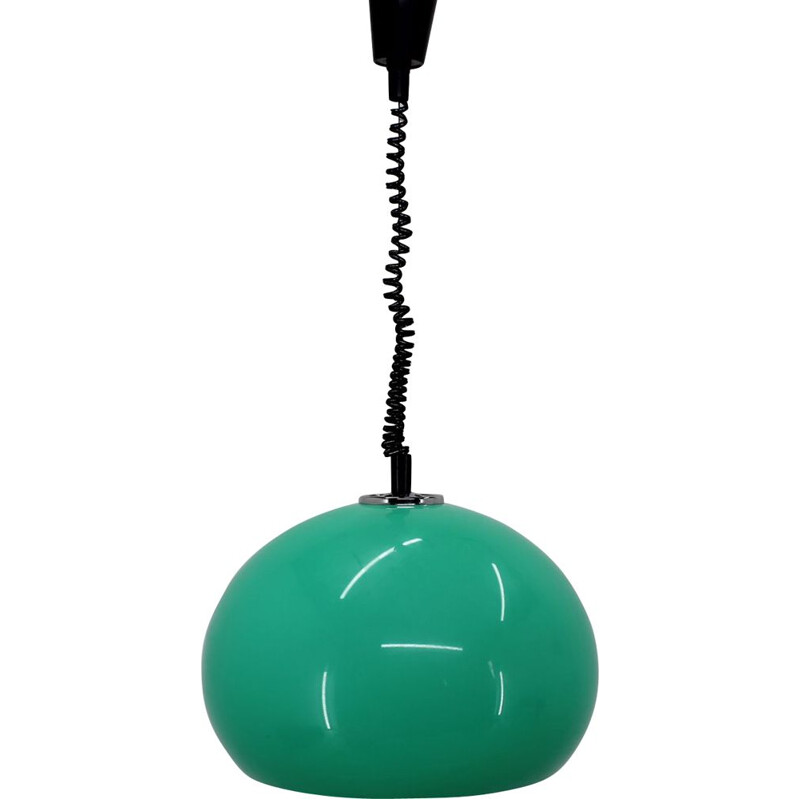 Vintage italian pendant by Harvey Guzzini in green plastic and metal 1970s