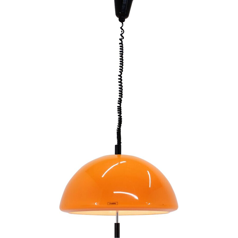 Vintage pendant for Meblo in orange plastic and metal 1970s