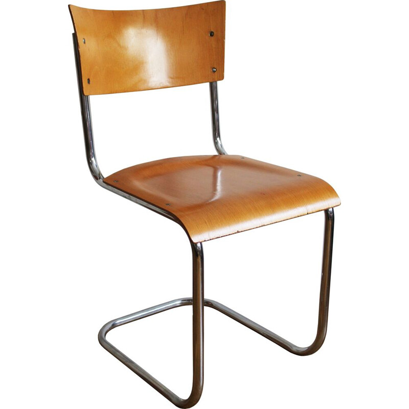 Vintage chair for Kovona in tubular steel and plywood 1960s