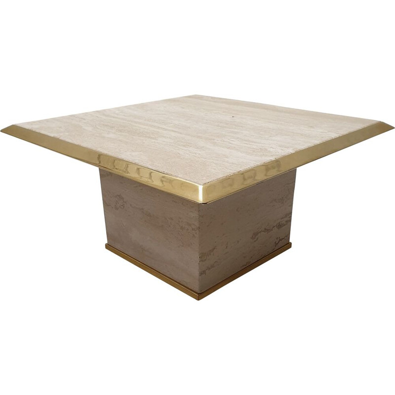 Vintage square travertine and brass side table 1970s