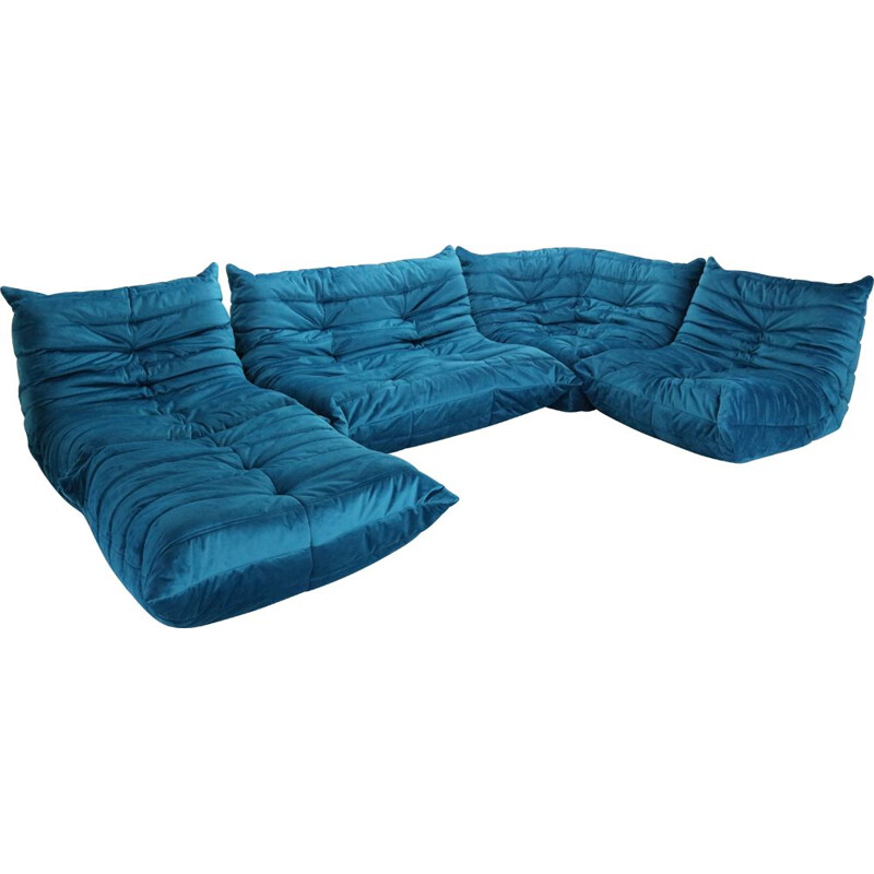 Set of 5 vintage Togo sofas for Ligne Roset in blue velvet 1970s